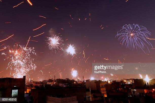 Fireworks at walled city after flying kites by people on the occasion of Hindu Makar Sakranti Festival in Jaipur on 15 Jan,2016. Makar Sakranti is a...