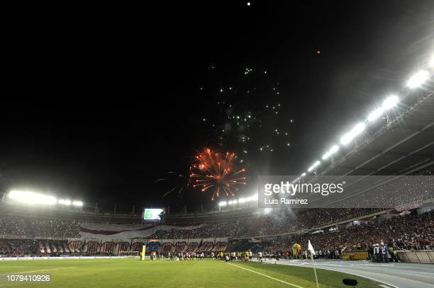 Fireworks before the final match of the first stage between Junior and Independiente Medellin as part of Torneo Clausura of Liga Aguila 2018 at...