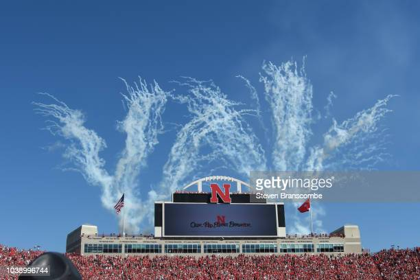 Fireworks before the game between the Nebraska Cornhuskers and the Troy Trojans at Memorial Stadium on September 15 2018 in Lincoln Nebraska