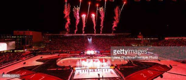 Fireworks before the start of the game between the Ottawa Senators and the Montreal Canadiens during the of the 2017 Scotiabank NHL100 Classic at...