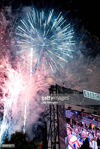 Fireworks behind the live feed from The Albert Hall bring the night to an end at the BBC Proms In The Park at Hyde Park on September 12 2009 in...
