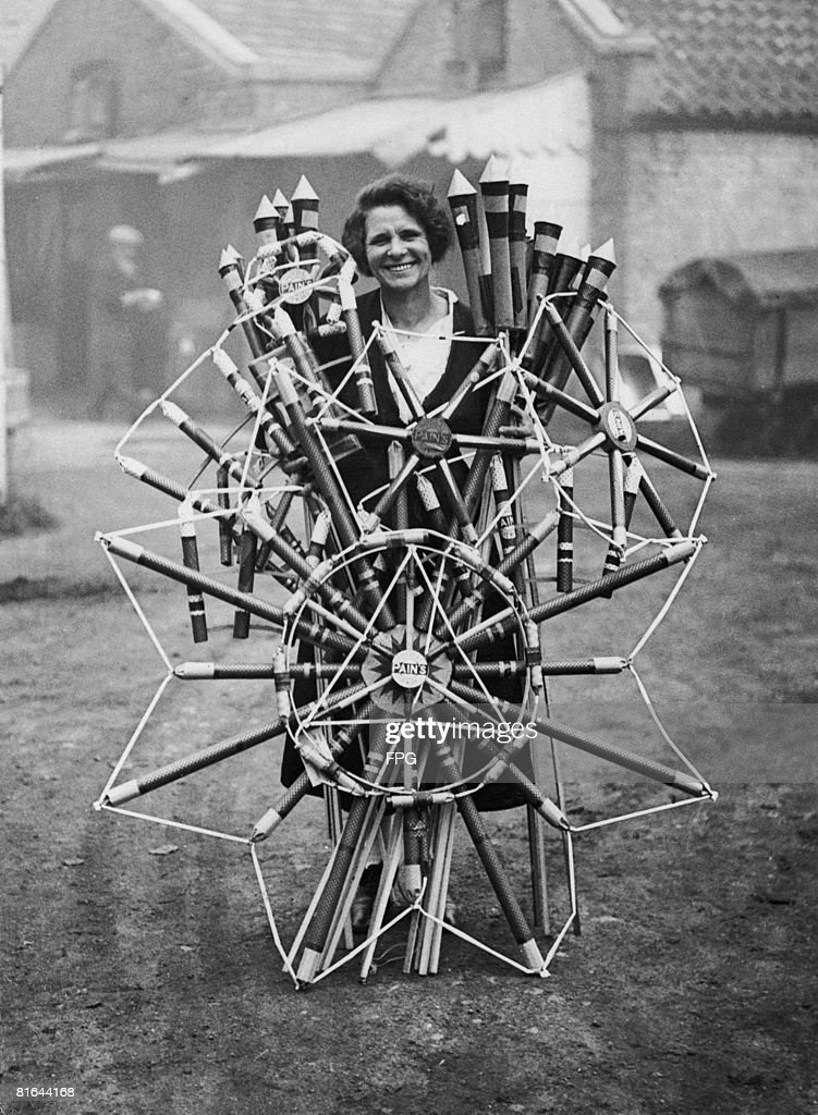 Fireworks being made at Messrs Pain of Mitcham, in preparation for Bonfire Night, circa 1930.
