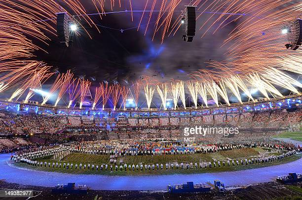 Fireworks burst over Olympic Stadium during the Opening Ceremony for the London 2012 Summer Olympic Games in London England Friday July 27 2012