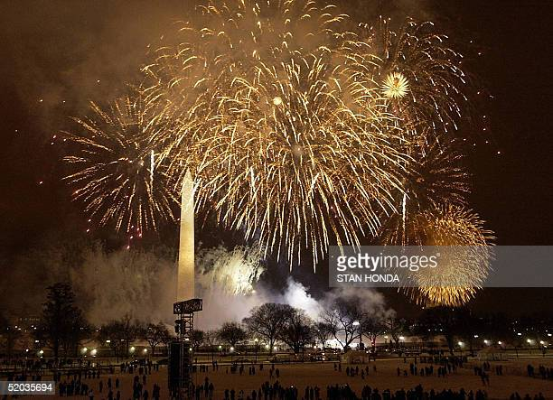 Fireworks burst over the Washington Monument at the close of the 'Celebration of Freedom' program 19 January 2005 on the Ellipse in Washington DC The...