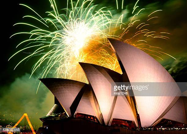Fireworks bursting over the Sydney Opera House, Australia,