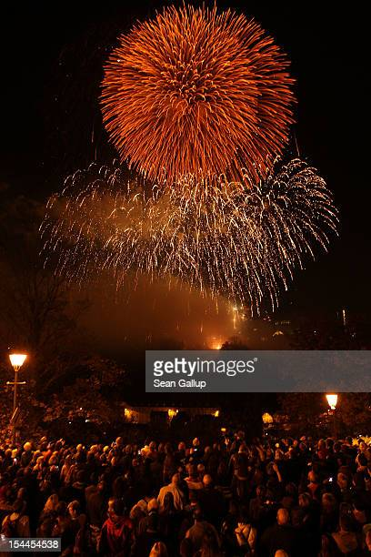 Fireworks celebrating the newly wed couple are seen after the wedding ceremony of Prince Guillaume Of Luxembourg and Princess Stephanie of Luxembourg...