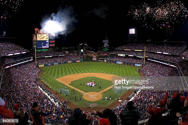 Fireworks celebrating the World Series victory of the Philadelphia Phillies against the Tampa Bay Rays after the continuation of game five of the...