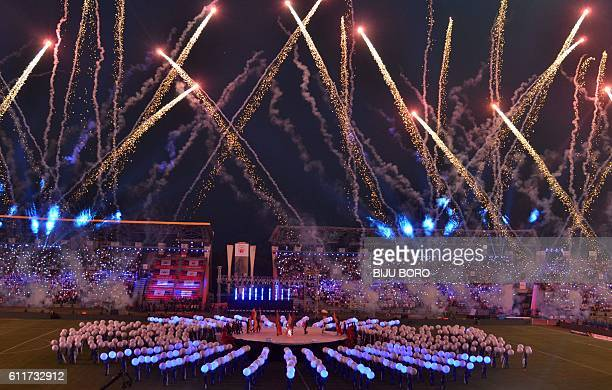 Fireworks conclude the opening ceremony of the Indian Super League ahead of the first match in the 2016 football tournament between Northeast United...