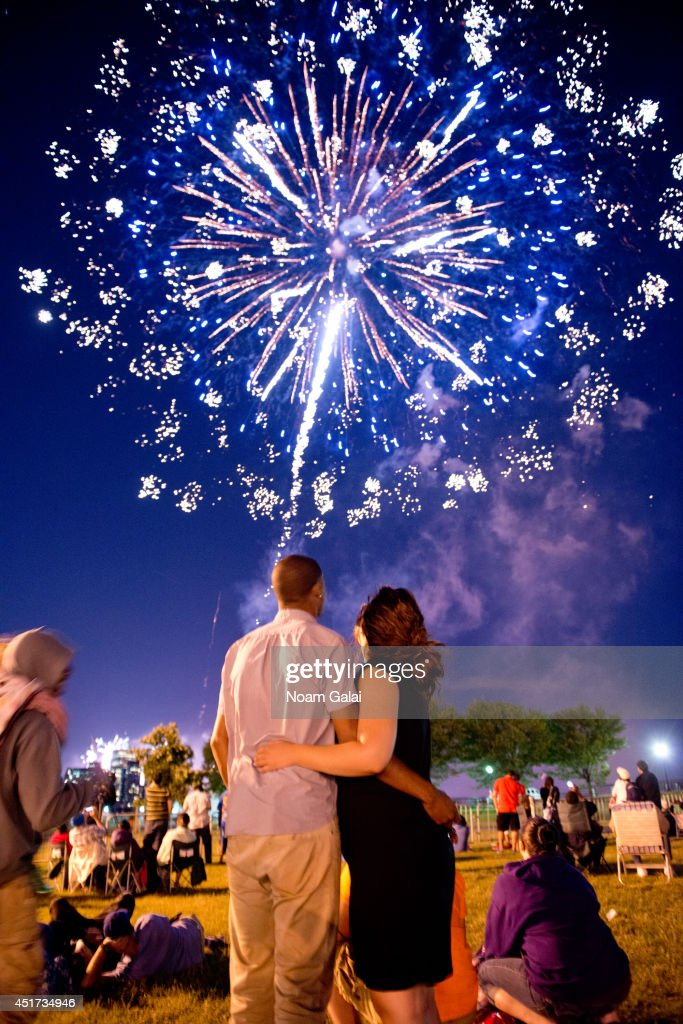 Fireworks dazzle in the New Jersey skies as part of the Freedom & Fireworks Festival in Liberty State Park, NJ on July 4, 2014, where Budweiser also presented a $3 million donation to the Folds of Honor Foundation to benefit families of military killed or disabled in action.