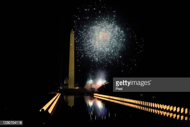 Fireworks detonate about the Washington Monument during a televised ceremony attended by U.S. President Joe Biden and Vice-President Kamala Harris at...