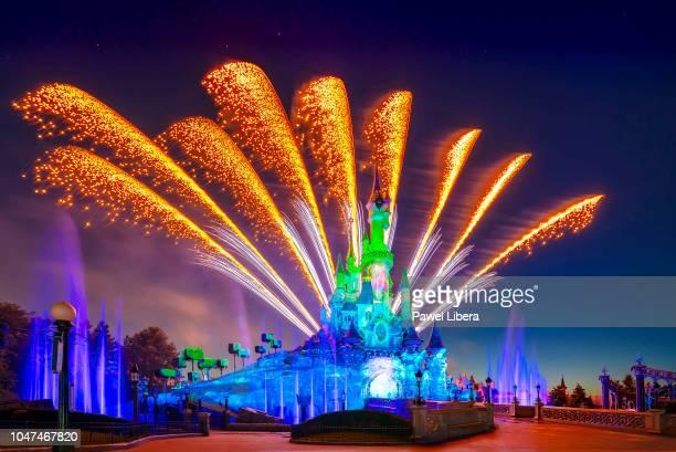 Fireworks display at Disneyland Resort Paris 25th Anniversary Celebrations.