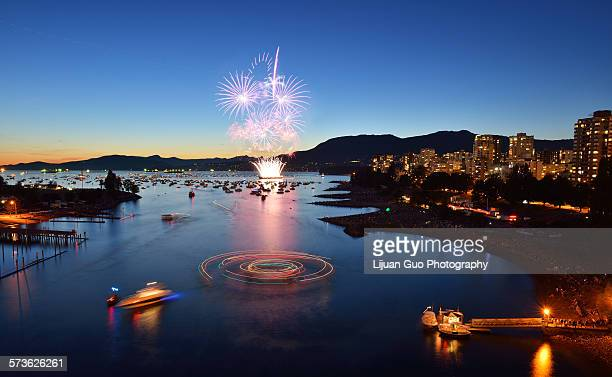 fireworks display at english bay - english bay stock photos and pictures