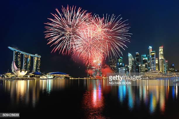 Fireworks display at Marina Bay during the Singapore National Day Parade 2014.