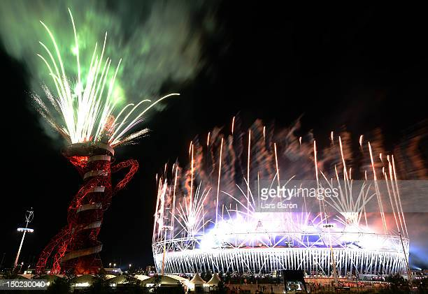 Fireworks display at Olympic Stadium closes out the Closing Ceremony for the 2012 Summer Olympic Games on August 12, 2012 in London, England.
