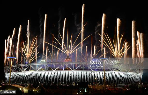 A fireworks display at Olympic Stadium closes out the Closing Ceremony for the 2012 Summer Olympic Games on August 12 2012 in London England