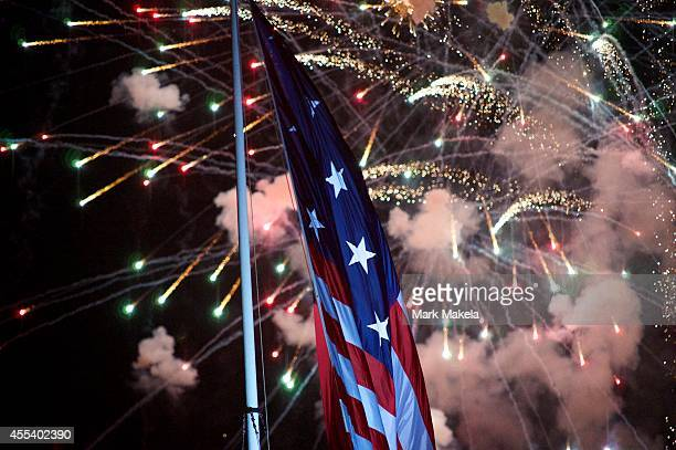 A fireworks display concludes a ceremony to commemorate the bicentennial of the writing of The StarSpangled Banner at Fort McHenry National Historic...