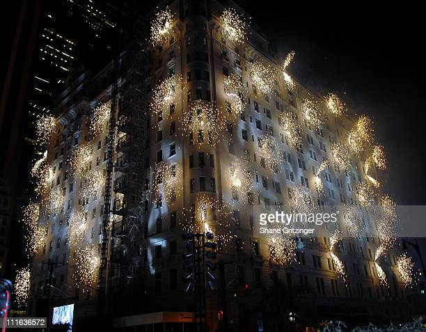 Fireworks display during the celebration in honor of The Plaza Hotel's 100th Birthday October 1, 2007 in New York City.