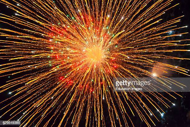 A Fireworks Display During The Guelaguetza Festival In July Oaxaca Mexico