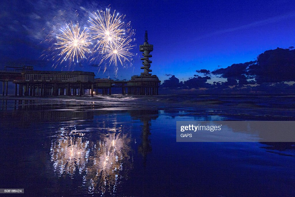 fireworks display during the International Fireworks Festival at Scheveningen : Stock Photo