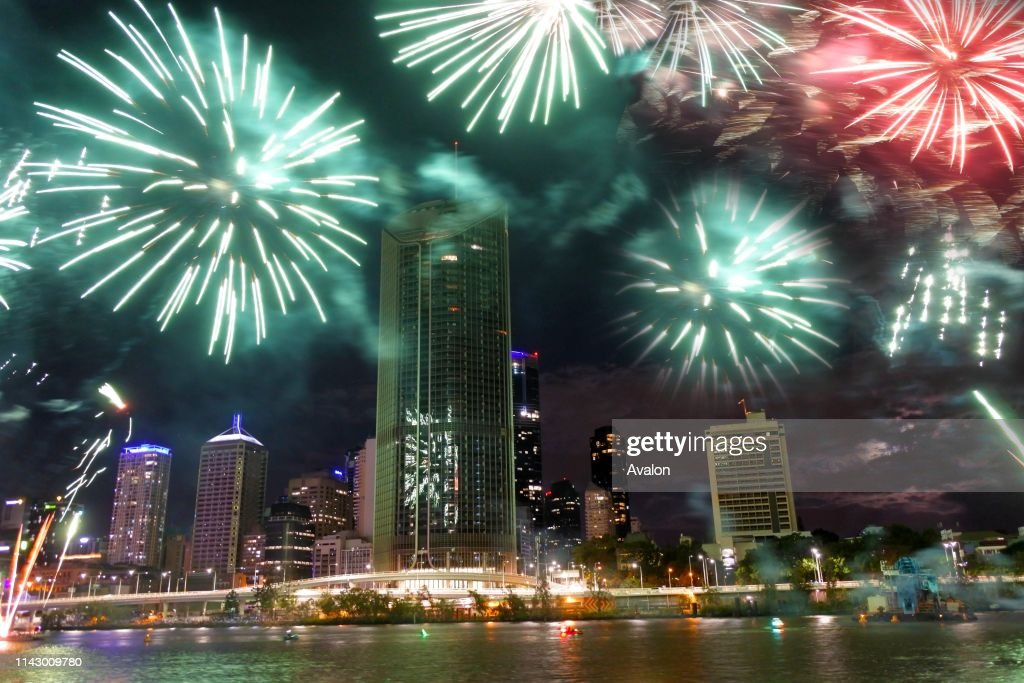 Fireworks display for Christmas over Southbank Parklands and Brisbane City River in Queensland, Australia : News Photo