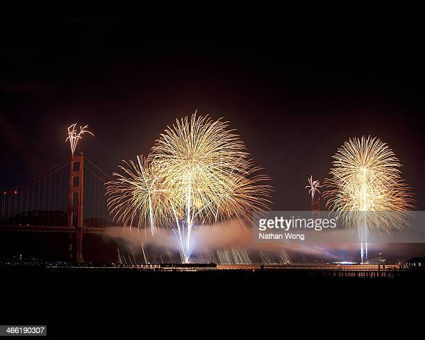 Fireworks display for the Golden Gate Bridge 75th Anniversary celebration.