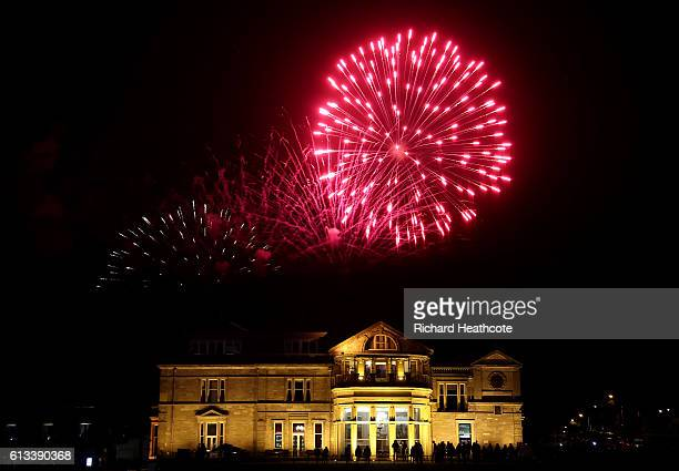A fireworks display is seen over the RA clubhouse to celebrate the Alfred Dunhill Links Championship at The Old Course on October 8 2016 in St...