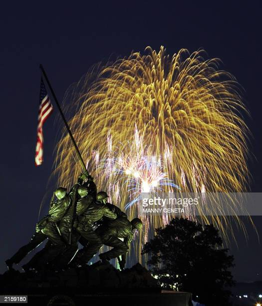 Fireworks display lights up the sky over the Iwo Jima Memorial in Arlingon Virginia during the annual 4th of July celebration in the nation's capital...