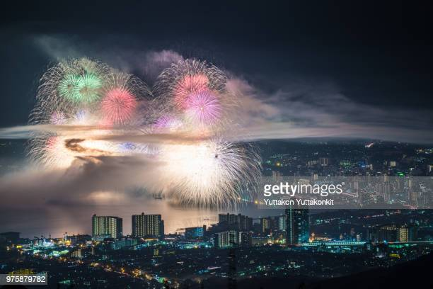 Fireworks display over city at night, Kyoto, Shiga, Honshu, Japan
