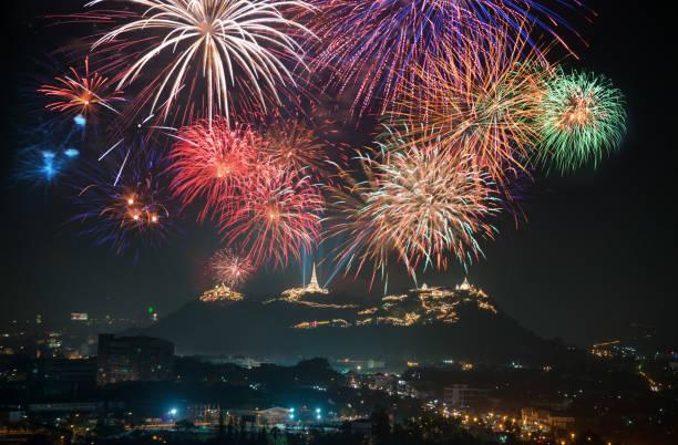 Fireworks display Unseen Thailand at Phetchaburi, Thailand
