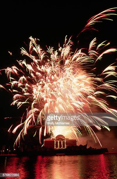 Fireworks display was part of the Mellon Art Gallery's Eye on Jefferson exhibit at the base of Capitol Hill. The fireworks explode over a replica of...