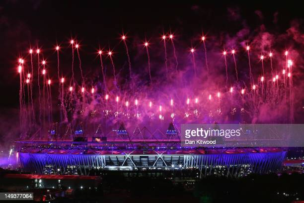 Fireworks draw to an end the opening ceremony of the 2012 London Olympic Games on July 28, 2012 in London, England. Athletes, heads of state and...