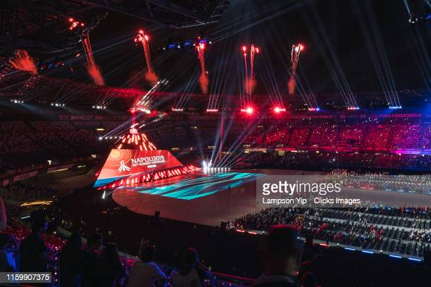 Fireworks during 2019 Summer Universiade Openning Ceremony on July 03, 2019 in San Paolo Stadium, Naples, Italy.