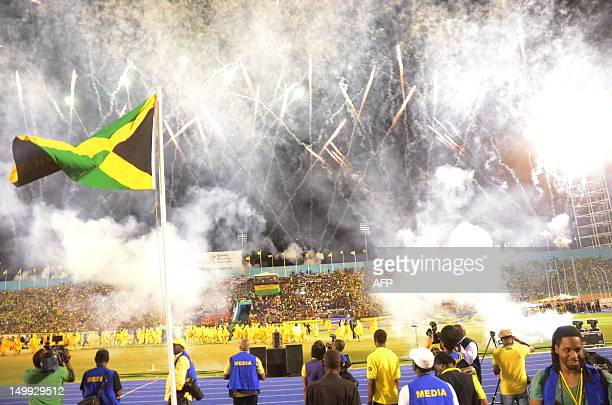 Fireworks during ceremonies August 6 2012 for the Jamaica 50th Independence Grand Gala celebration at the National Stadium in Kingston Jamaica People...