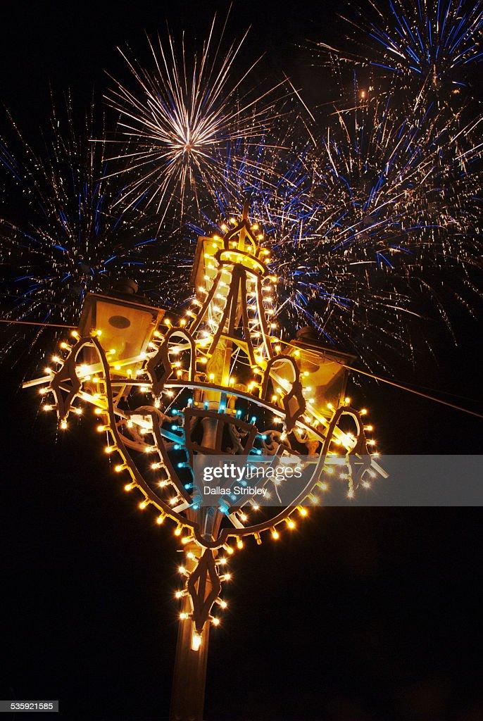 Fireworks during religious festival in Lipari : Stock Photo