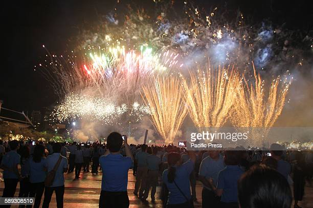 Fireworks during the ceremony to mark the Queen Sirikit's 84th birthday at Sanam Luang in Bangkok. The queen consort of revered monarch Bhumibol...