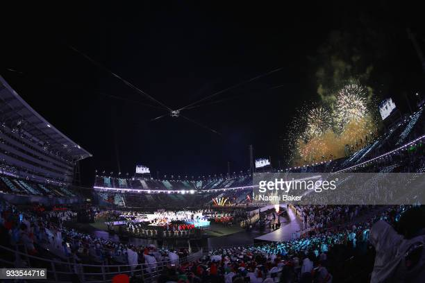 Fireworks during the closing ceremony of the PyeongChang 2018 Paralympic Games at the PyeongChang Olympic Stadium on March 18 2018 in Pyeongchanggun...