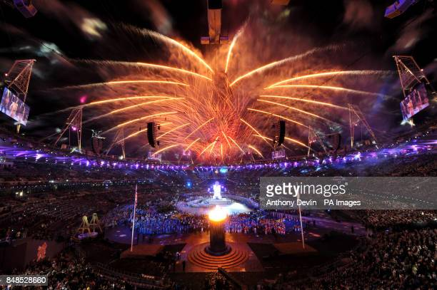 Fireworks during the Opening Ceremony for the London Paralympic Games 2012 at the Olympic Stadium, London.