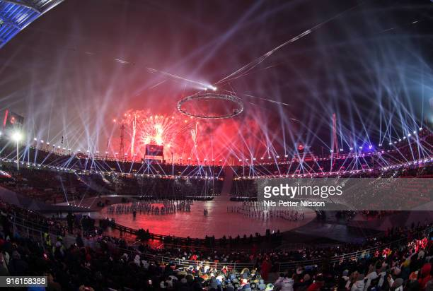 Fireworks during the Opening Ceremony of the PyeongChang 2018 Winter Olympic Games at PyeongChang Olympic Stadium on February 9, 2018 in...