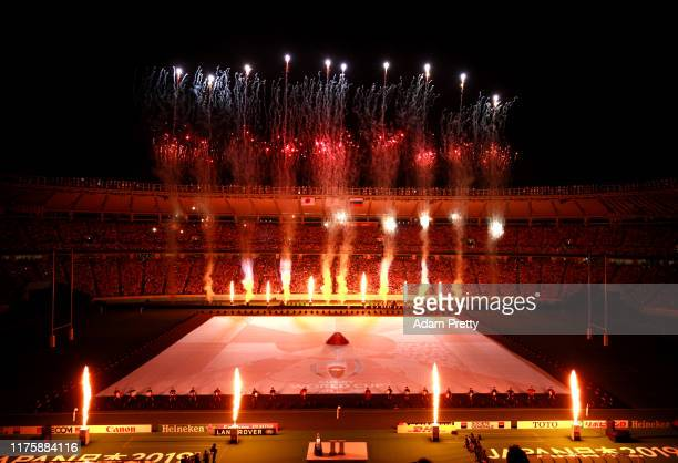 Fireworks during the opening ceremony prior to the Rugby World Cup 2019 Group A game between Japan and Russia at the Tokyo Stadium on September 20...