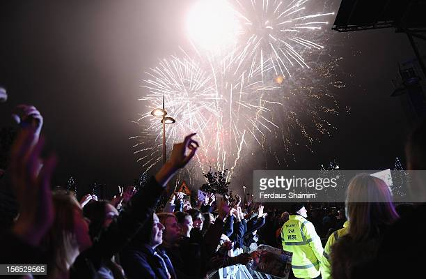 Fireworks during the switch on of Bluewater Christmas Lights at Bluewater Shopping Centre on November 16 2012 in Greenhithe England