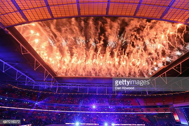 Fireworks end the evening after Indian Prime Minister Narendra Modi spoke on stage at Wembley Stadium during the second day of an official three day...