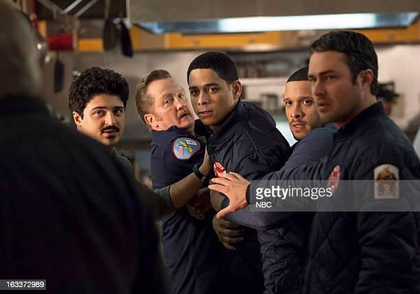 FIRE Fireworks Episode 118 Pictured Yuri Sardarov as Otis Christian Stolte as Mouch Charlie Barnett as Peter Mills Joe Minoso as Cruz Taylor Kinney...