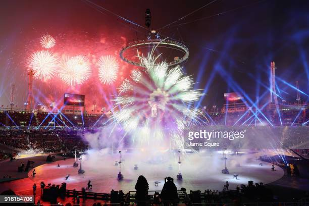 Fireworks eplode during the Opening Ceremony of the PyeongChang 2018 Winter Olympic Games at PyeongChang Olympic Stadium on February 9 2018 in...