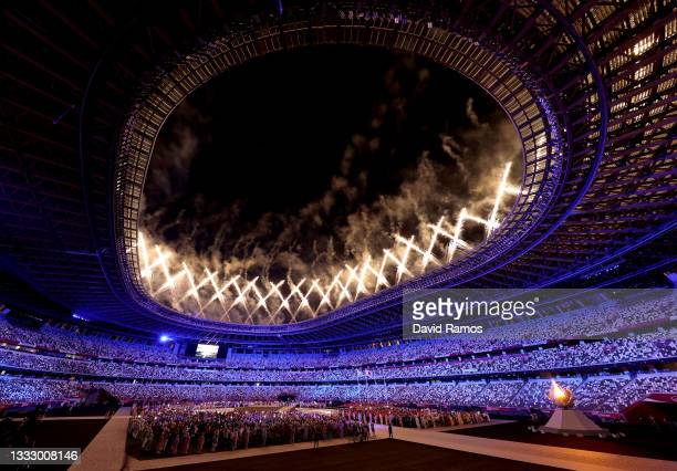 Fireworks erupt above the stadium during the Closing Ceremony of the Tokyo 2020 Olympic Games at Olympic Stadium on August 08, 2021 in Tokyo, Japan.