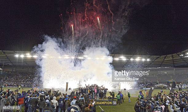 Fireworks erupt after Sporting KC is awarded the MLS Cup after defeating Real Salt Lake in the MLS Cup Final at Sporting Park in Kansas City, Kan.,...