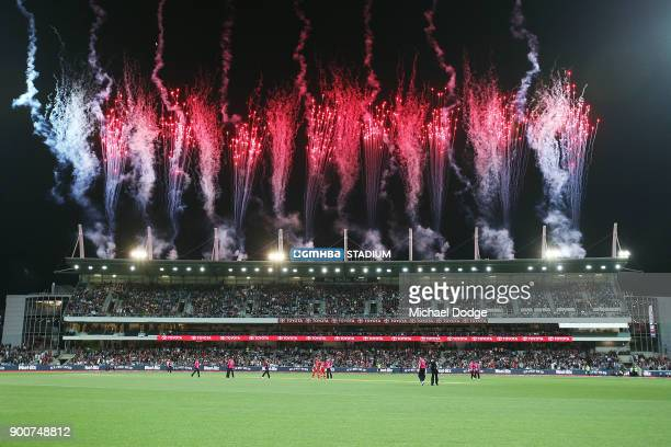 Fireworks erupt after the Renegades victory during the Big Bash League match between the Melbourne Renegades and the Sydney Sixers on January 3, 2018...
