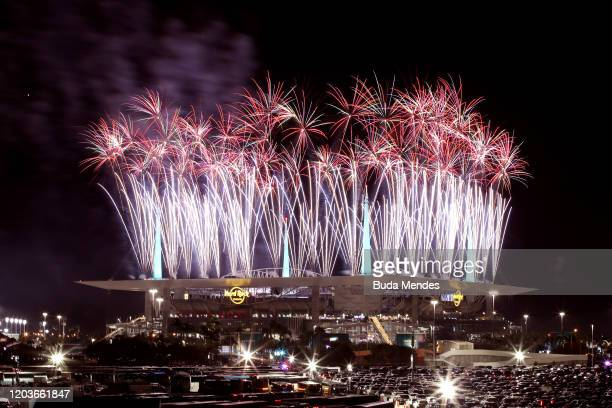 Fireworks erupt as Jennifer Lopez and Shakira perform during the Pepsi Super Bowl LIV Halftime Show at Hard Rock Stadium on February 02 2020 in Miami...