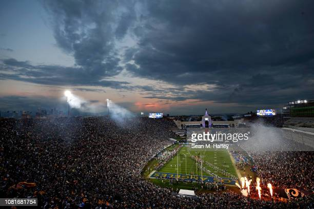 Fireworks erupt as the Los Angeles Rams are introduced before the NFC Divisional Playoff game against the Dallas Cowboys at Los Angeles Memorial...