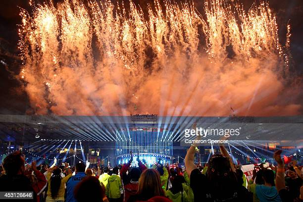 Fireworks erupt during the Closing Ceremony for the Glasgow 2014 Commonwealth Games at Hampden Park on August 3, 2014 in Glasgow, United Kingdom.