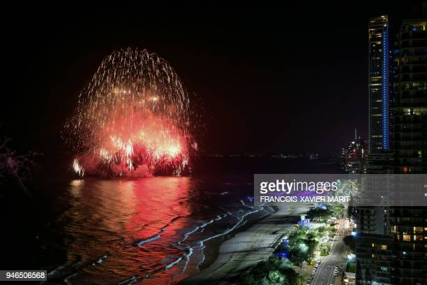 Fireworks erupt on the surfers' paradise beach as the Commonwealth Games closing ceremony take place at the Carrara Stadium Coast 2018 on the Gold...